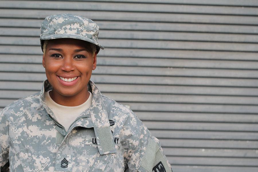 Veteran Soldier smiling. African American Woman in the military.jpg