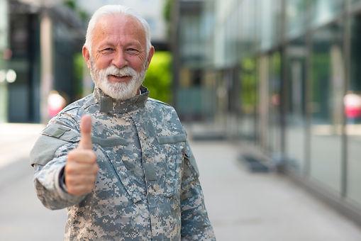 Portrait senior soldier in military unif