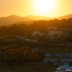 Burning Sunset Over the Mountain
