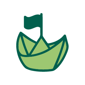 Green Paper Boat with Flag Icon