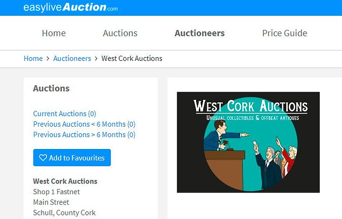 West Cork Auctions in Schull, West Cork. Auction site for rare collectibles and antiques in Ireland