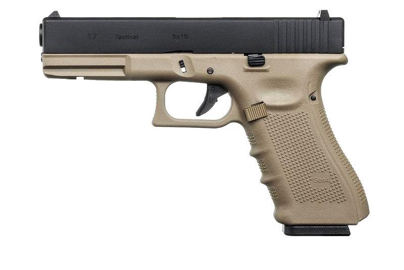 WE G17 Gen4 GBB Airsoft Pistol - Black Slide / Tan Receiver