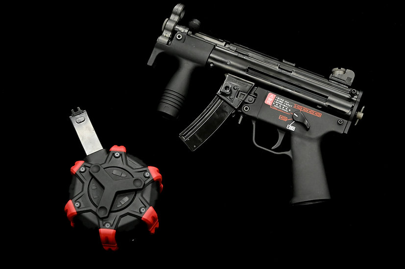 Upgraded WE MP5K Apache GBB Airsoft SMG Drum Mag Package