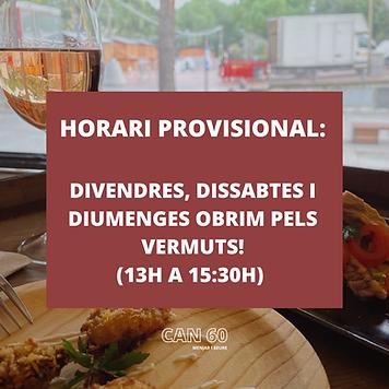 HORARI PROVISIONAL_ DIVENDRES, DISSABTE