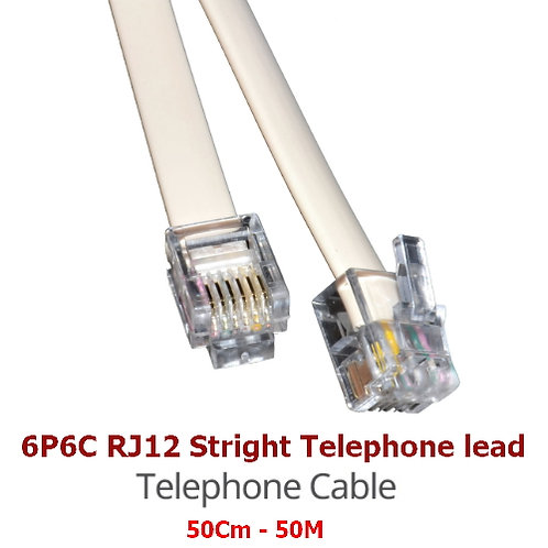 6P6C PRO Telephone  Extension Cord Lead (White)
