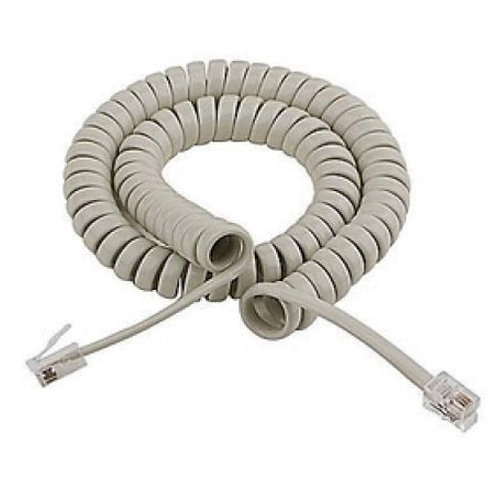 Telephone Spiral Wire Handset Curly Cord RJ11 4P4C (White)
