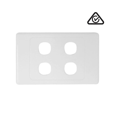 Clipsal Compatible 4 Gang Wall Plate White