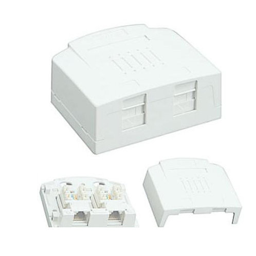 2 Way Keystone Surface Box - with Cat.6 keystone Jacks