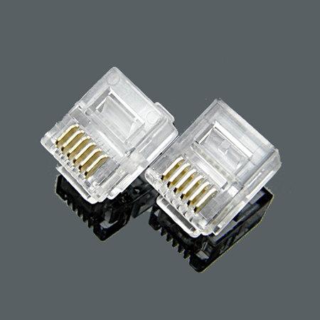 RJ12 6P6C Crimp plug - 1 pack: 100ea