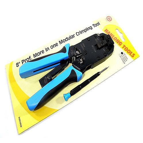 Professional Crimp Tool with Ratchet for RJ10, RJ11,RJ12 & RJ45 (Brand: HANLONG)