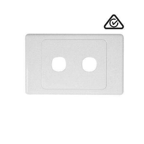 Clipsal Compatible 2 Gang Wall Plate White