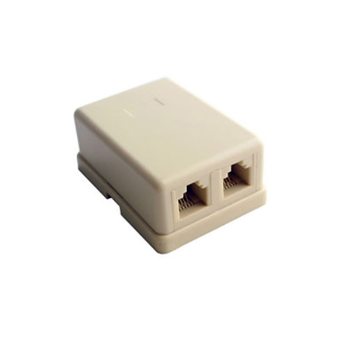 2 Way RJ11 Modular 6P4C Telephone Surface Socket