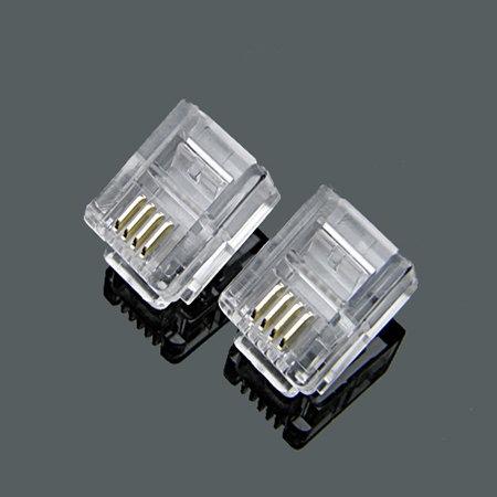 RJ11 6P4C Crimp plug - 1 pack: 100ea