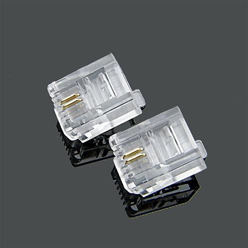 RJ11 6P2C Crimp plug - 1 pack: 100ea