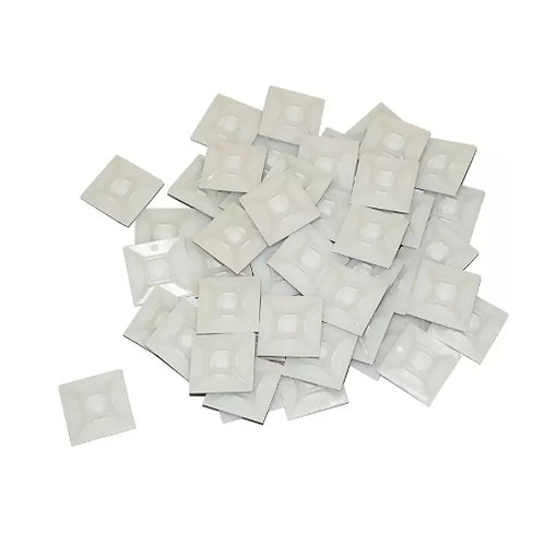 Cable Tie Mounts 25mm x 25mm White - Self Adhesive 100 - 1000pk