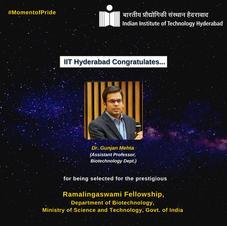 IITH congratulates for the Ramalingaswami Fellowship