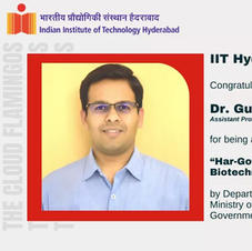 IITH congratulates for the Innovative Young Biotechnologist Award 2020