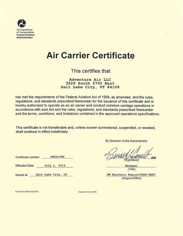 Adventure Air Air Carrier Certificate.jp