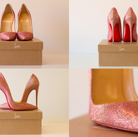 Louboutin - So Kate pink glitter tisse maat 37 12cm hoog  prijs: 450€