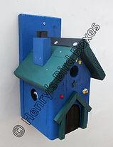 Fairy House Bird Box Blue & Pine Green.j