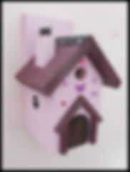 Fairy House Bird Box Pale Pink & Damson