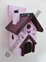 Fairy House Bird Box Pale Pink & Damson.