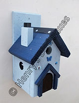 Fairy House Bird Box Pale Blue & Dark Bl