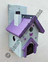 Fairy House Bird Box Pale Green & Purple