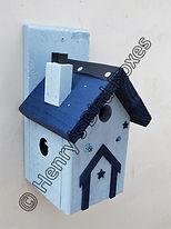 Pixie House Bird Box Pale Blue & Dark Bl
