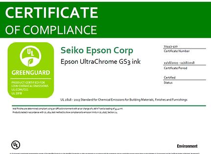 Certification Greengard des encres Epson GS3