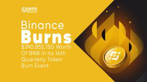 Binance Burns $390,855,150 Worth Of BNB In Its 16th Quarterly Token Burn Event