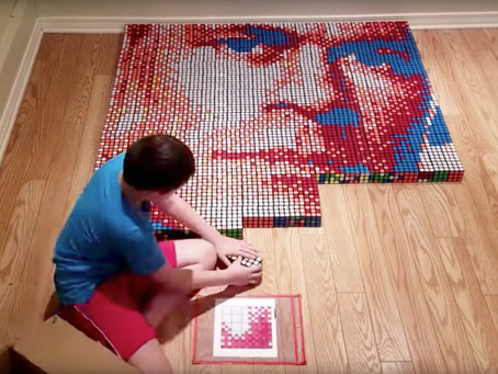 9-Year-old Boy With Dyslexia Uses His 'Superpower' to Make John Cena Portrait Out of Rubik's Cubes