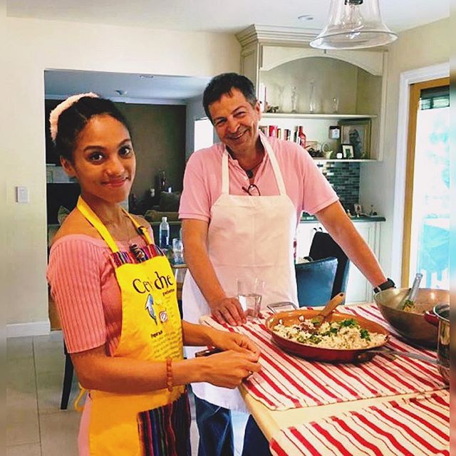 Tiana & Michael taking a break from cooking to smile for the camera! 😃_Picture taken at our Ayurved
