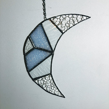 Crescent Moon- clear and white