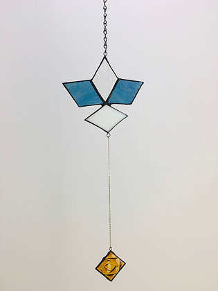 Pendant with Delicate Chain - blue and white