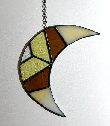 Crescent Moon- green/tan and yellow
