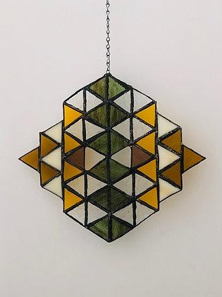 Triangles Sun Catcher- green, gold, tan