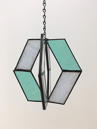 Spinner Sun Catcher - teal, white, clear texture