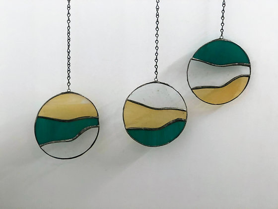 3 Circles- light yellow, clear, teal