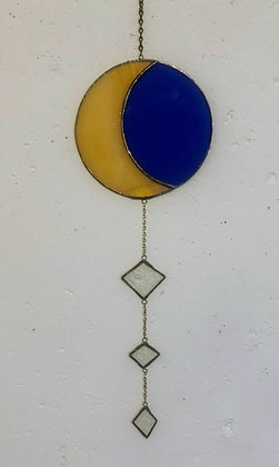 Crescent Moon- blue and tan