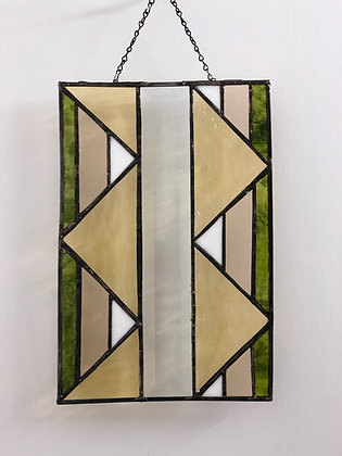 Panel with Triangles- green, gold, champagne, white and clear