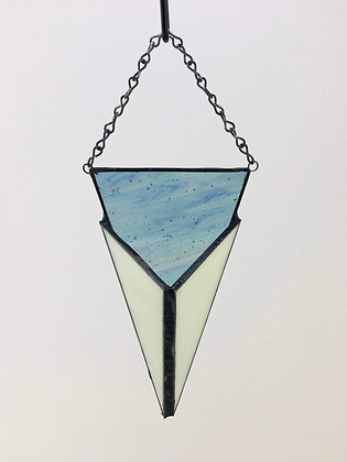 Flat Triangle Hanger - blue water and cream