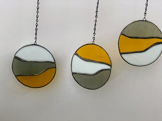 3 Circles- golden yellow, white, grey