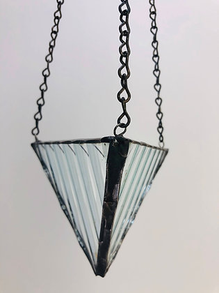 Medium Hanger- Iridescent Ribbed Glass