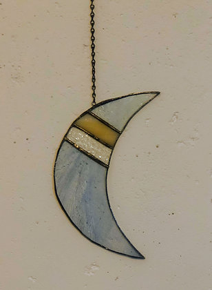 Crescent Moon with Angles- blue, yellow, clear