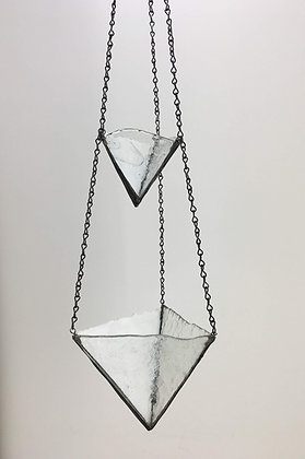 2 Tier Small and Large Hanger - white and clear free form