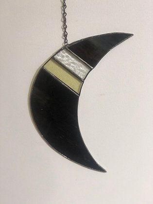 Crescent Moon with Angles- dark green/brown, yellow, clear
