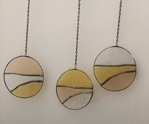3 Circles- golden yellow, blush, clear