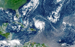 Satellite view of an hurricane approachi