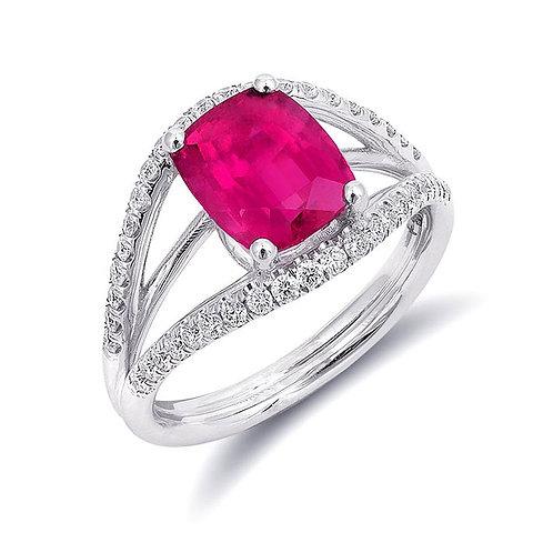 14k White Gold 2.55ct TGW Natural Pink Tourmaline and White Diamond Ring